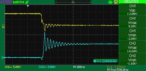 Формы сигналов в DCC бустере на MOSFET и IR2110