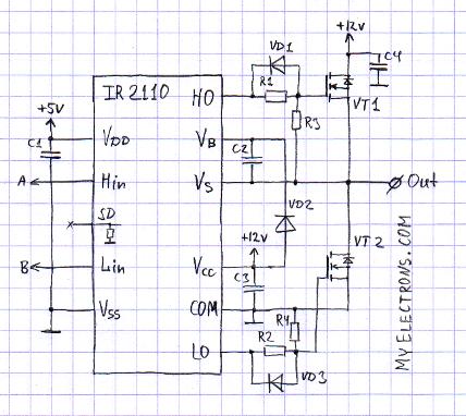 Схема DCC бустера на MOSFET и IR2110