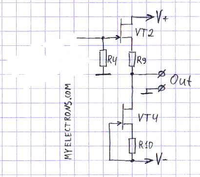 Истоковый повторитель нагруженный на источник тока