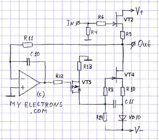 Устранение дрейфа нуля на выходе буфера - ОУ + MOSFET