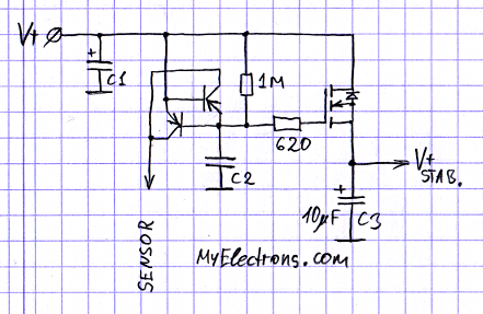 Электронный дроссель с датчиком бросков напряжения