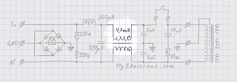 Сетевой фильтр: синфазный трансформатор