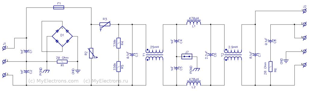 Схема фильтра сетевых помех