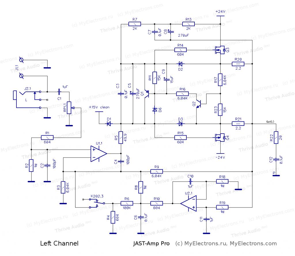 Схема одного канала усилителя для наушников JASTAmp-Pro