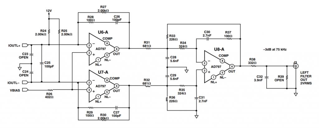 Схема аналогового выхода ЦАП. - на операционных усилителях